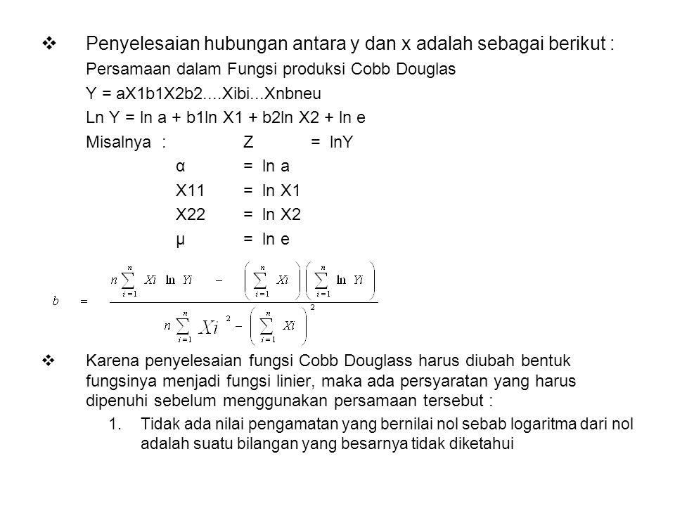  Penyelesaian hubungan antara y dan x adalah sebagai berikut : Persamaan dalam Fungsi produksi Cobb Douglas Y = aX1b1X2b2....Xibi...Xnbneu Ln Y = ln a + b1ln X1 + b2ln X2 + ln e Misalnya : Z = lnY α = ln a X11 = ln X1 X22 = ln X2 μ = ln e  Karena penyelesaian fungsi Cobb Douglass harus diubah bentuk fungsinya menjadi fungsi linier, maka ada persyaratan yang harus dipenuhi sebelum menggunakan persamaan tersebut : 1.Tidak ada nilai pengamatan yang bernilai nol sebab logaritma dari nol adalah suatu bilangan yang besarnya tidak diketahui