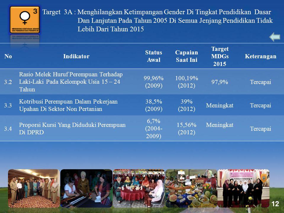 Page 12 Target 3A : Menghilangkan Ketimpangan Gender Di Tingkat Pendidikan Dasar Dan Lanjutan Pada Tahun 2005 Di Semua Jenjang Pendidikan Tidak Lebih
