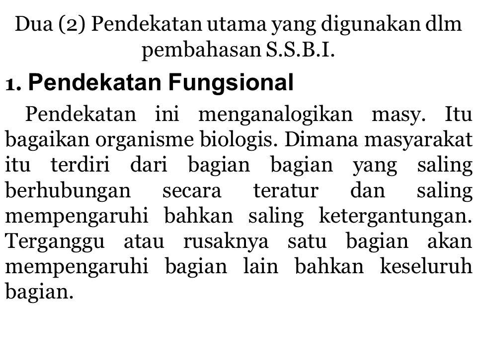 Anggapan Dasar Pendekatan Fungsional : 1.