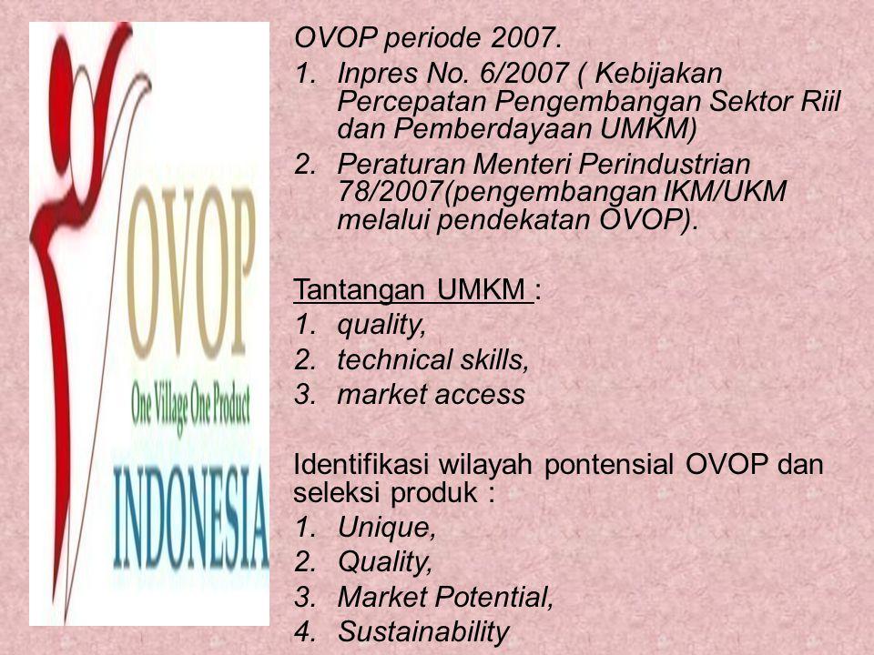 OVOP periode 2007. 1.Inpres No. 6/2007 ( Kebijakan Percepatan Pengembangan Sektor Riil dan Pemberdayaan UMKM) 2.Peraturan Menteri Perindustrian 78/200