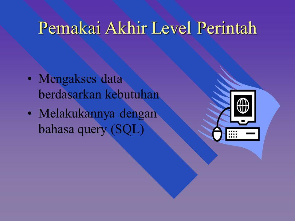 Pemakai Akhir Level Perintah Mengakses data berdasarkan kebutuhan Melakukannya dengan bahasa query (SQL)