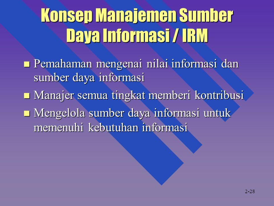 Konsep Manajemen Sumber Daya Informasi / IRM Pemahaman mengenai nilai informasi dan sumber daya informasi Pemahaman mengenai nilai informasi dan sumbe