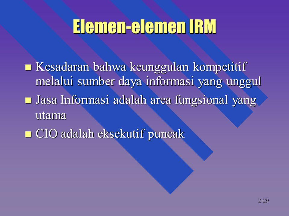 Elemen-elemen IRM Kesadaran bahwa keunggulan kompetitif melalui sumber daya informasi yang unggul Kesadaran bahwa keunggulan kompetitif melalui sumber daya informasi yang unggul Jasa Informasi adalah area fungsional yang utama Jasa Informasi adalah area fungsional yang utama CIO adalah eksekutif puncak CIO adalah eksekutif puncak 2-29
