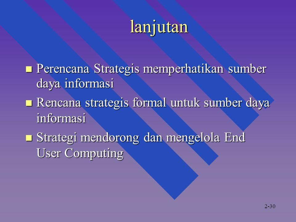 lanjutan Perencana Strategis memperhatikan sumber daya informasi Perencana Strategis memperhatikan sumber daya informasi Rencana strategis formal untuk sumber daya informasi Rencana strategis formal untuk sumber daya informasi Strategi mendorong dan mengelola End User Computing Strategi mendorong dan mengelola End User Computing 2-30