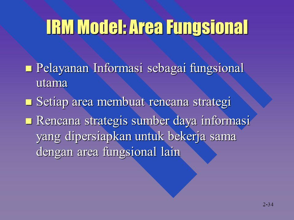 IRM Model: Area Fungsional Pelayanan Informasi sebagai fungsional utama Pelayanan Informasi sebagai fungsional utama Setiap area membuat rencana strat
