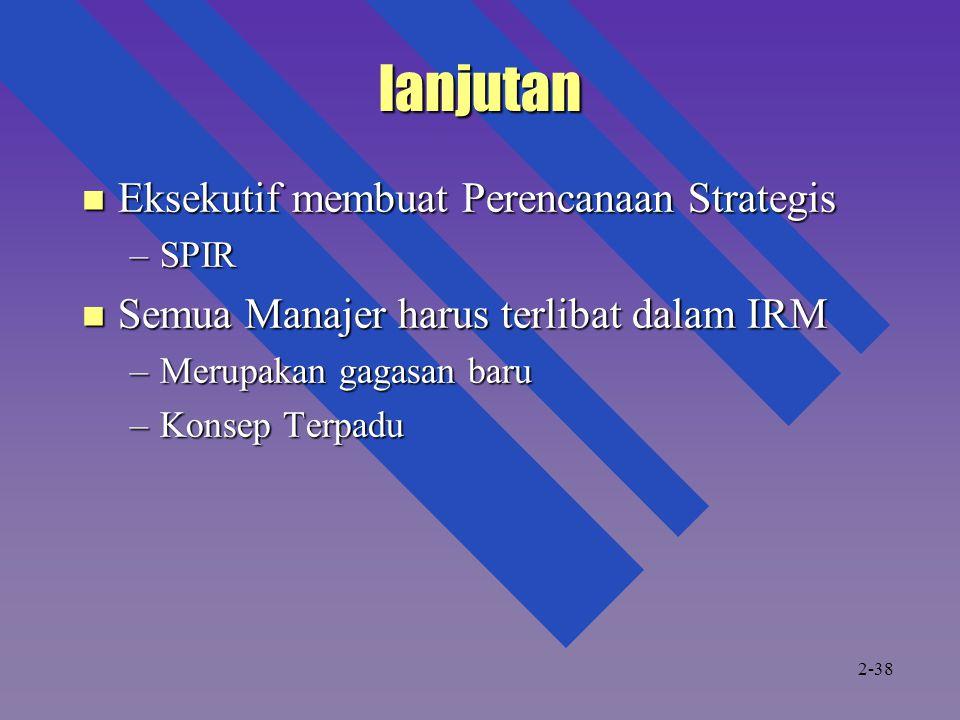 lanjutan Eksekutif membuat Perencanaan Strategis Eksekutif membuat Perencanaan Strategis –SPIR Semua Manajer harus terlibat dalam IRM Semua Manajer harus terlibat dalam IRM –Merupakan gagasan baru –Konsep Terpadu 2-38