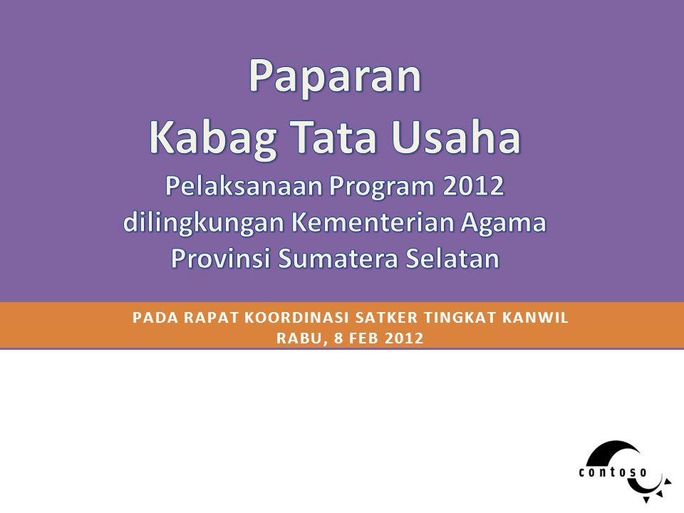 PADA RAPAT KOORDINASI SATKER TINGKAT KANWIL RABU, 8 FEB 2012