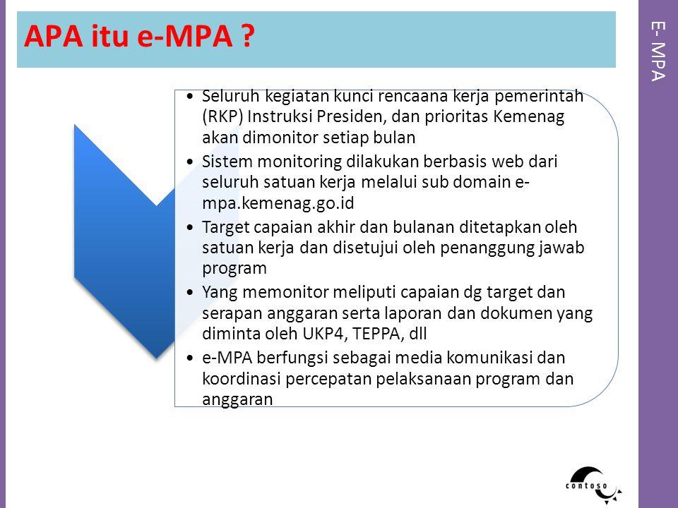 E- MPA APA itu e-MPA ? Seluruh kegiatan kunci rencaana kerja pemerintah (RKP) Instruksi Presiden, dan prioritas Kemenag akan dimonitor setiap bulan Si