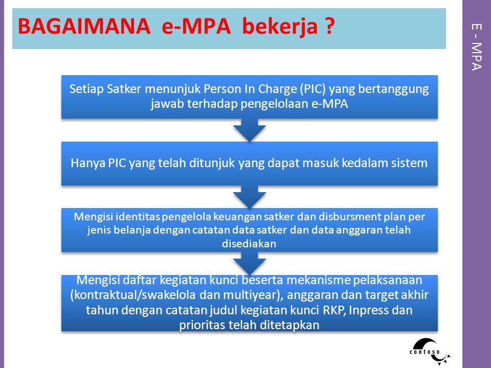 E - MPA BAGAIMANA e-MPA bekerja ? Mengisi daftar kegiatan kunci beserta mekanisme pelaksanaan (kontraktual/swakelola dan multiyear), anggaran dan targ