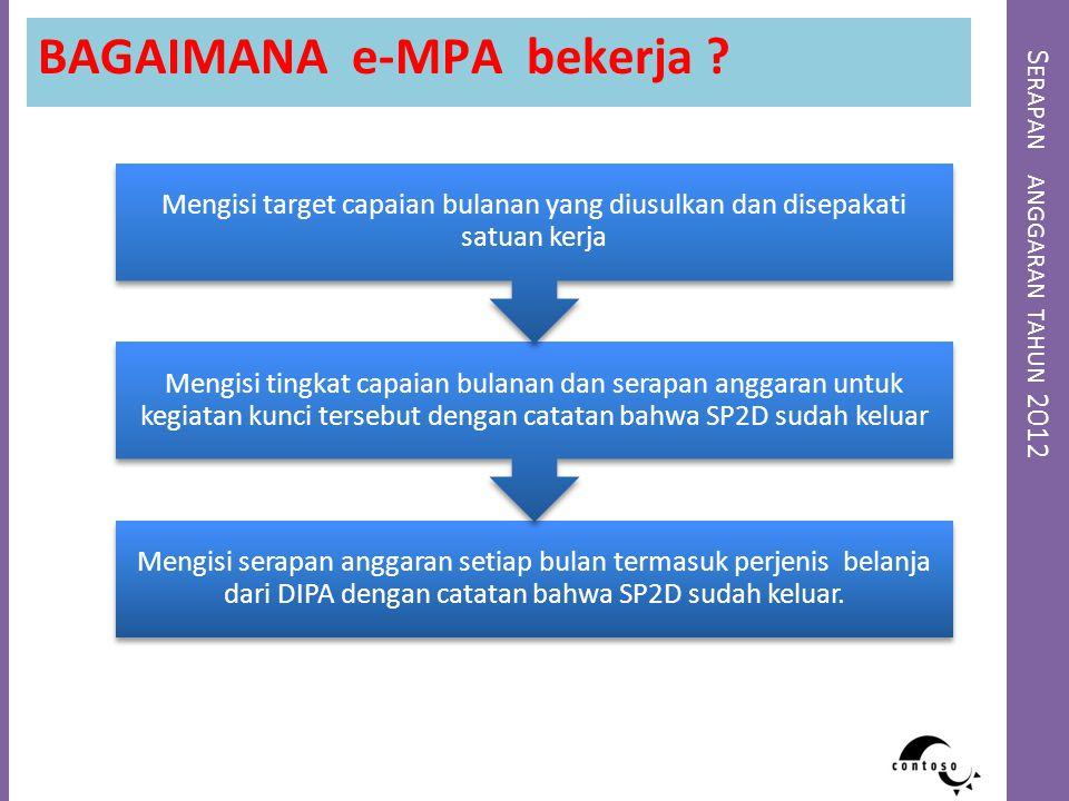 S ERAPAN ANGGARAN TAHUN 2012 BAGAIMANA e-MPA bekerja ? Mengisi serapan anggaran setiap bulan termasuk perjenis belanja dari DIPA dengan catatan bahwa