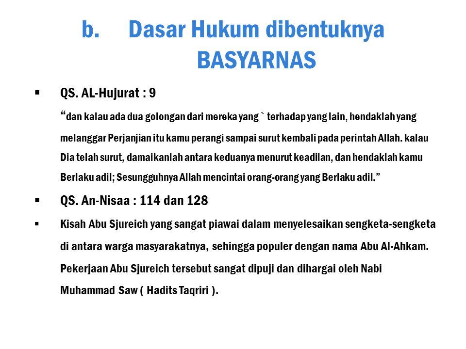 Badan Arbitrase Syariah Nasional ( BASYARNAS ) merupakan perubahan dari nama Badan Arbitrase Muamalat Indonesia ( BAMUI ). BAMUI didirikan pada tangga