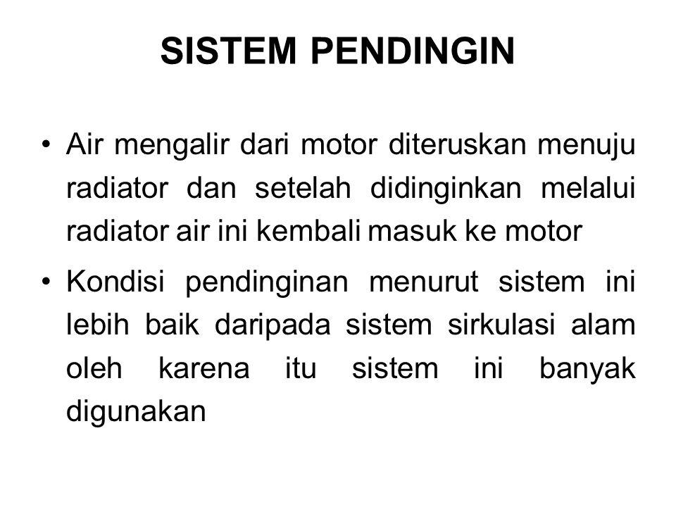 SISTEM PENDINGIN Air mengalir dari motor diteruskan menuju radiator dan setelah didinginkan melalui radiator air ini kembali masuk ke motor Kondisi pe