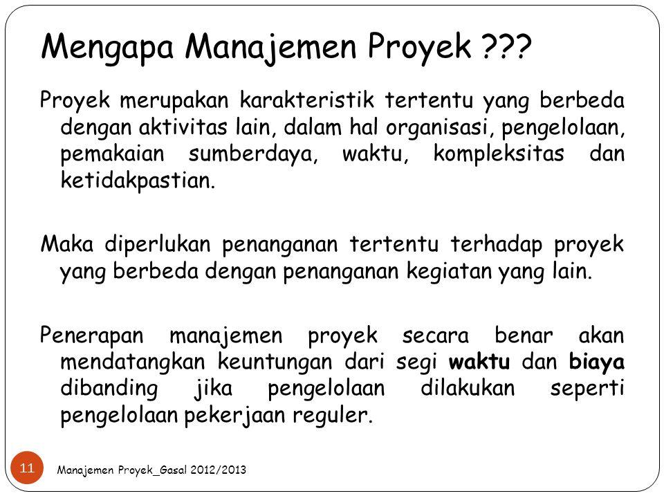Mengapa Manajemen Proyek ??? Manajemen Proyek_Gasal 2012/2013 11 Proyek merupakan karakteristik tertentu yang berbeda dengan aktivitas lain, dalam hal