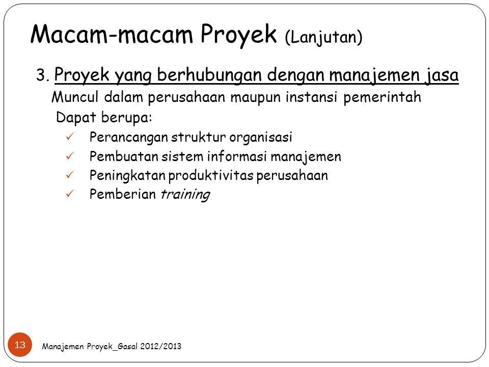 Macam-macam Proyek (Lanjutan) Manajemen Proyek_Gasal 2012/2013 13 3. Proyek yang berhubungan dengan manajemen jasa Muncul dalam perusahaan maupun inst