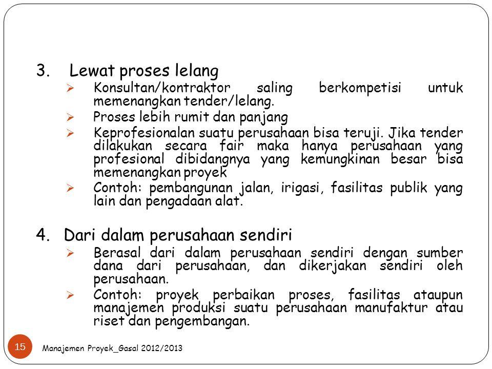 Manajemen Proyek_Gasal 2012/2013 15 3. Lewat proses lelang  Konsultan/kontraktor saling berkompetisi untuk memenangkan tender/lelang.  Proses lebih