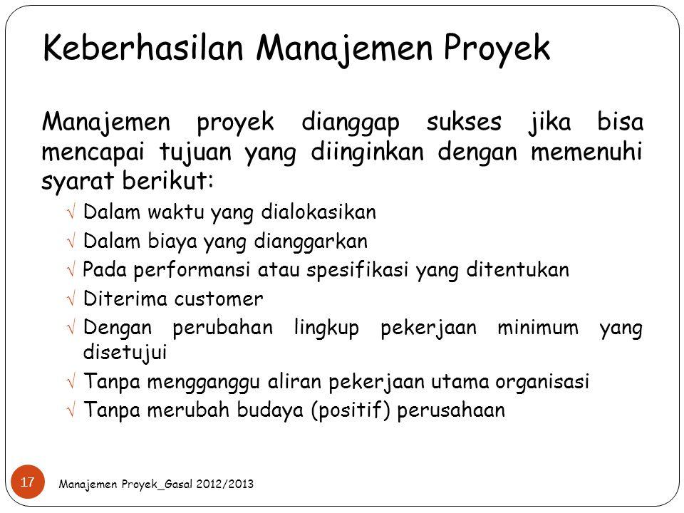 Keberhasilan Manajemen Proyek Manajemen Proyek_Gasal 2012/2013 17 Manajemen proyek dianggap sukses jika bisa mencapai tujuan yang diinginkan dengan me