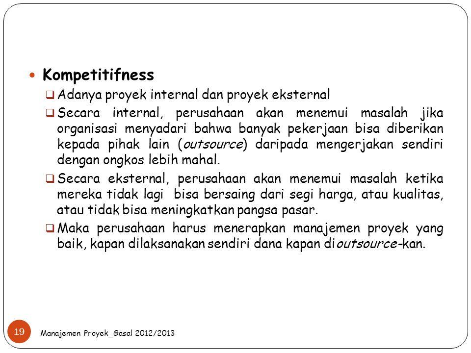 Manajemen Proyek_Gasal 2012/2013 19 Kompetitifness  Adanya proyek internal dan proyek eksternal  Secara internal, perusahaan akan menemui masalah ji