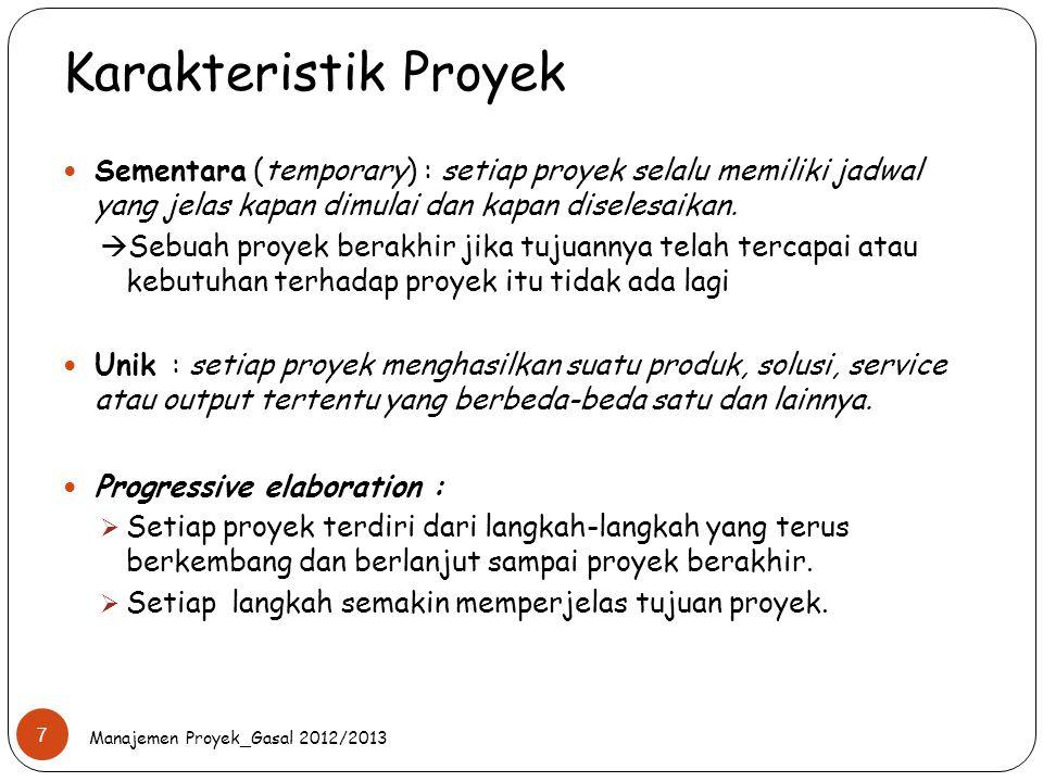 Karakteristik Proyek Manajemen Proyek_Gasal 2012/2013 7 Sementara (temporary) : setiap proyek selalu memiliki jadwal yang jelas kapan dimulai dan kapa