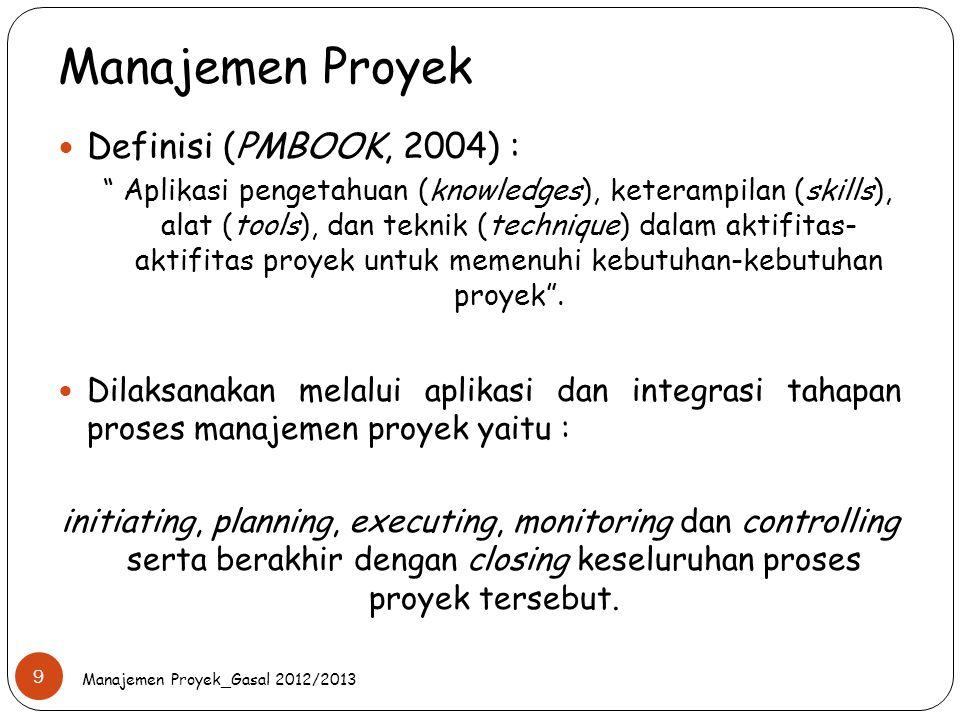 """Manajemen Proyek Manajemen Proyek_Gasal 2012/2013 9 Definisi (PMBOOK, 2004) : """" Aplikasi pengetahuan (knowledges), keterampilan (skills), alat (tools)"""