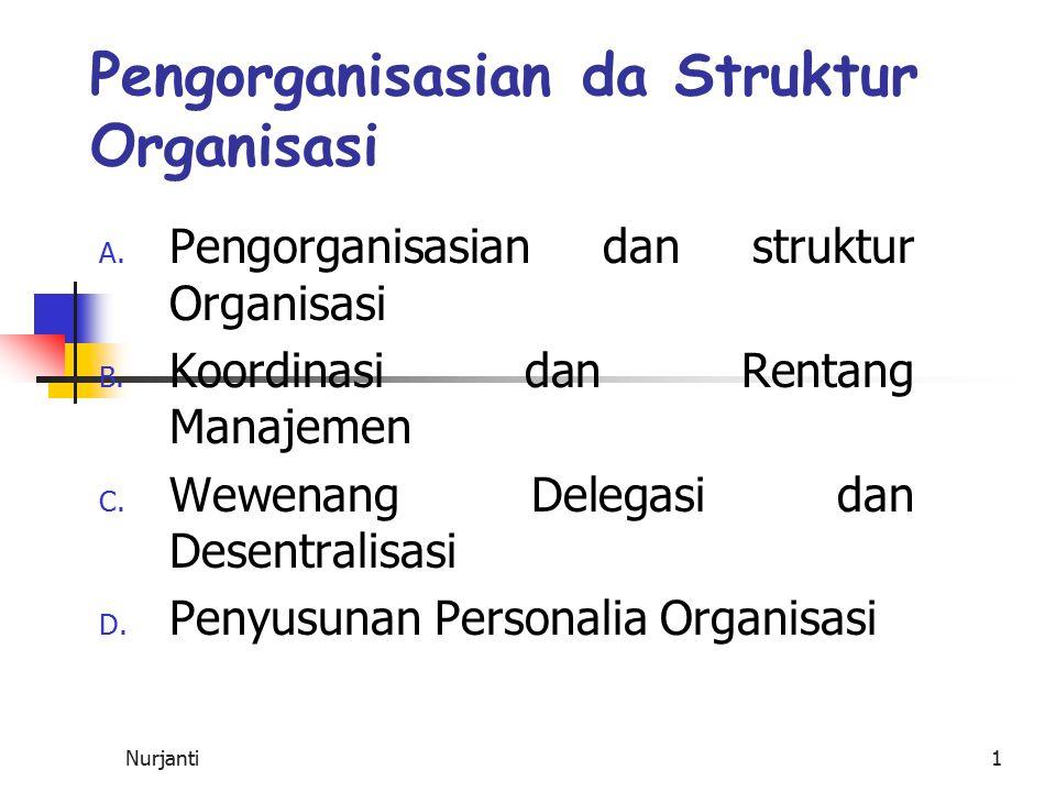 Nurjanti1 Pengorganisasian da Struktur Organisasi A. Pengorganisasian dan struktur Organisasi B. Koordinasi dan Rentang Manajemen C. Wewenang Delegasi