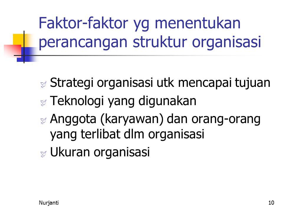 10 Faktor-faktor yg menentukan perancangan struktur organisasi  Strategi organisasi utk mencapai tujuan  Teknologi yang digunakan  Anggota (karyawa