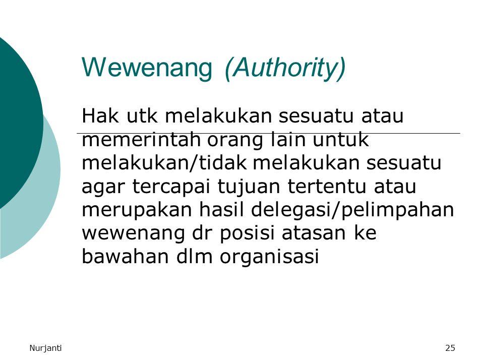 Nurjanti25 Wewenang (Authority) Hak utk melakukan sesuatu atau memerintah orang lain untuk melakukan/tidak melakukan sesuatu agar tercapai tujuan tert