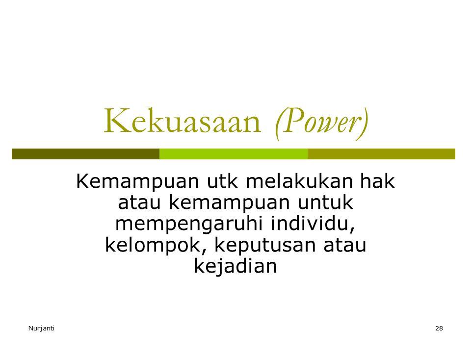 Nurjanti28 Kekuasaan (Power) Kemampuan utk melakukan hak atau kemampuan untuk mempengaruhi individu, kelompok, keputusan atau kejadian