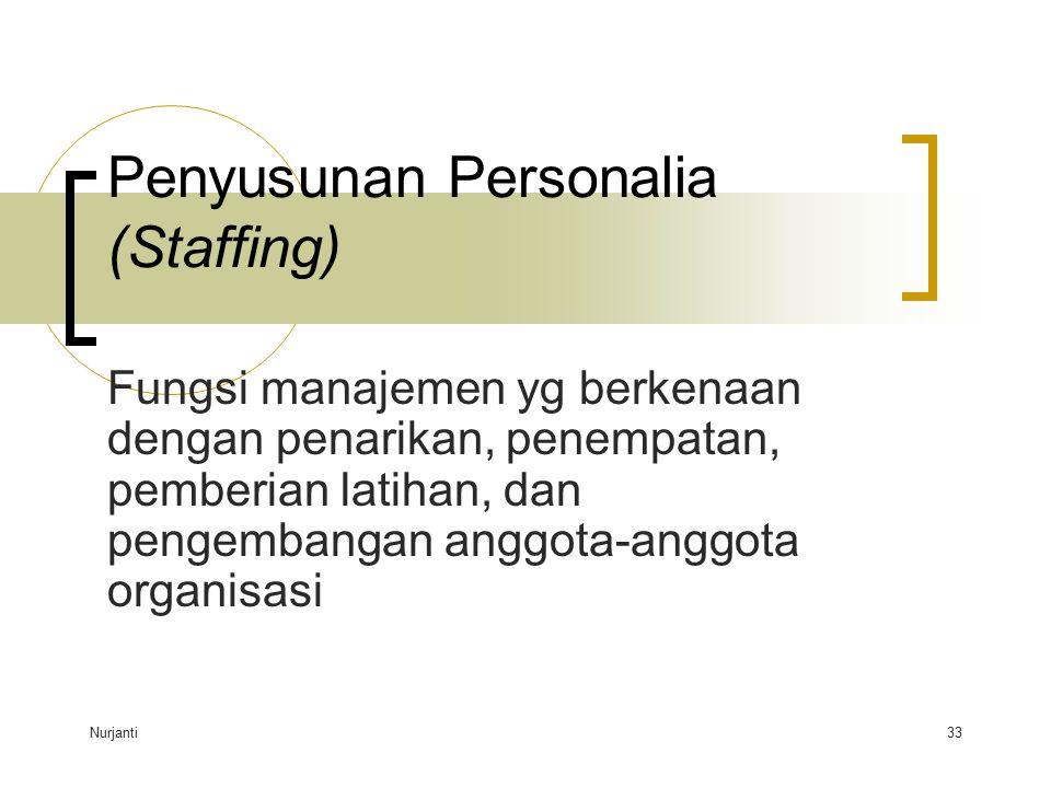 Nurjanti33 Penyusunan Personalia (Staffing) Fungsi manajemen yg berkenaan dengan penarikan, penempatan, pemberian latihan, dan pengembangan anggota-an