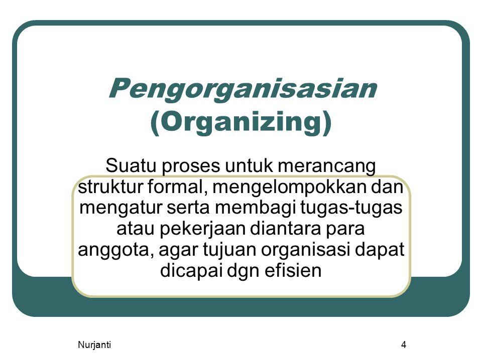 Nurjanti4 Pengorganisasian (Organizing) Suatu proses untuk merancang struktur formal, mengelompokkan dan mengatur serta membagi tugas-tugas atau peker