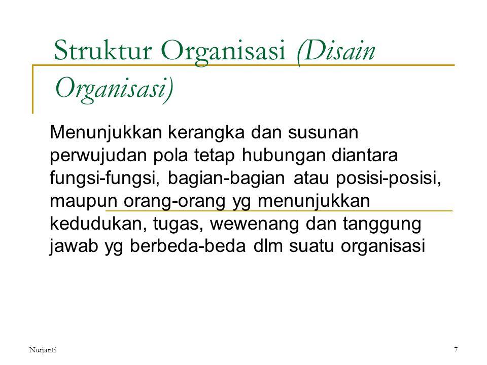 Nurjanti7 Struktur Organisasi (Disain Organisasi) Menunjukkan kerangka dan susunan perwujudan pola tetap hubungan diantara fungsi-fungsi, bagian-bagia