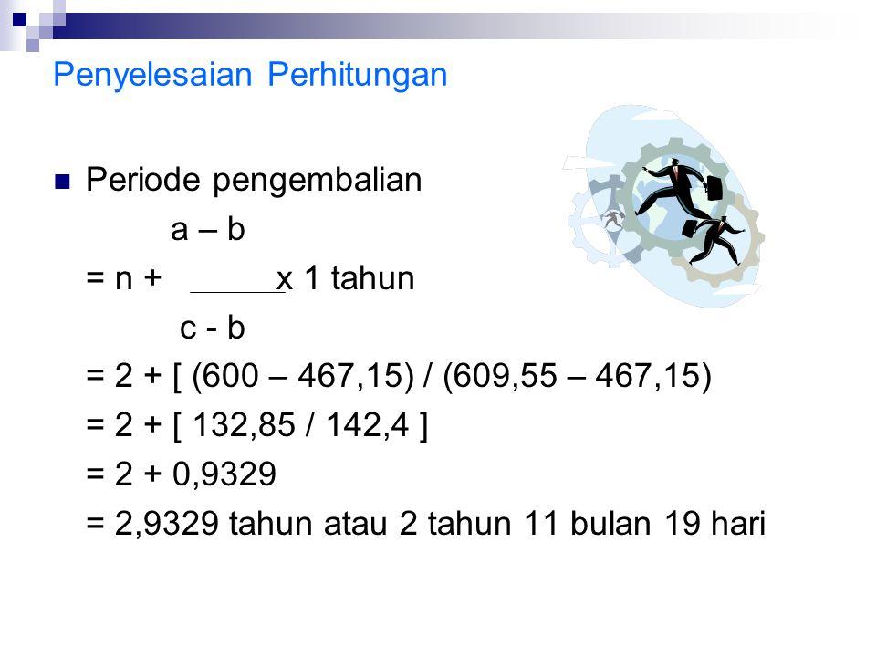 Penyelesaian Perhitungan Periode pengembalian a – b = n + x 1 tahun c - b = 2 + [ (600 – 467,15) / (609,55 – 467,15) = 2 + [ 132,85 / 142,4 ] = 2 + 0,