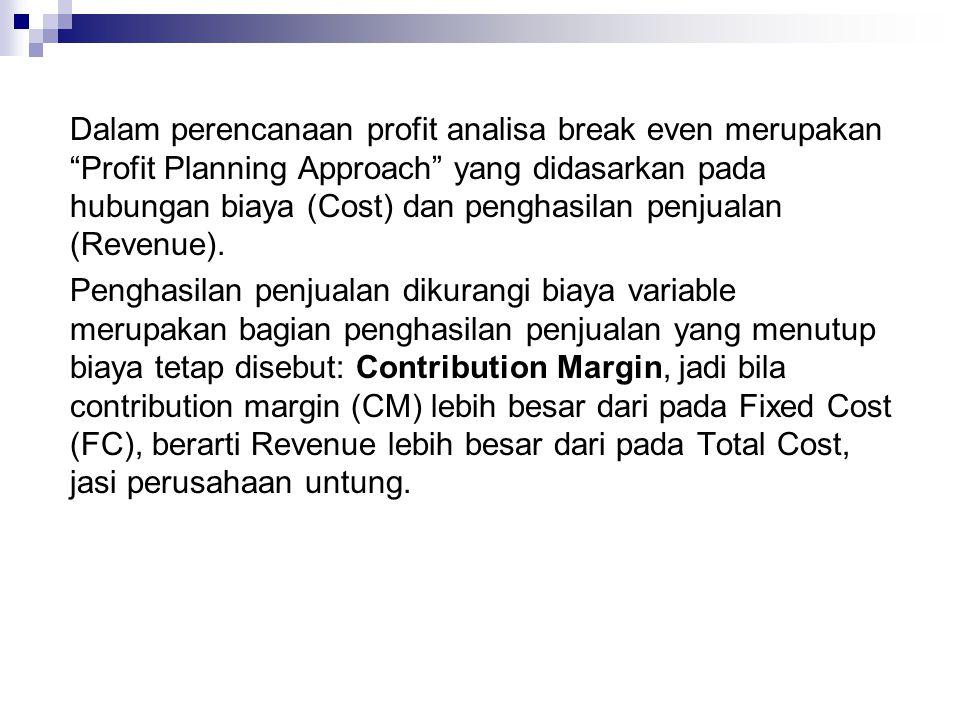 """Dalam perencanaan profit analisa break even merupakan """"Profit Planning Approach"""" yang didasarkan pada hubungan biaya (Cost) dan penghasilan penjualan"""