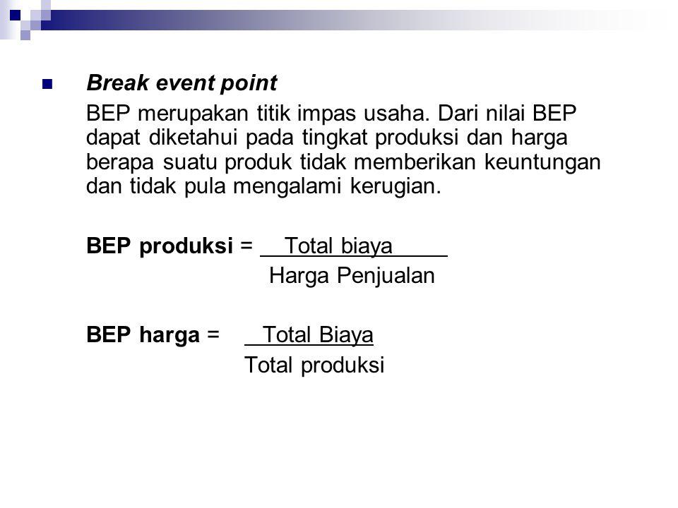 Break event point BEP merupakan titik impas usaha. Dari nilai BEP dapat diketahui pada tingkat produksi dan harga berapa suatu produk tidak memberikan