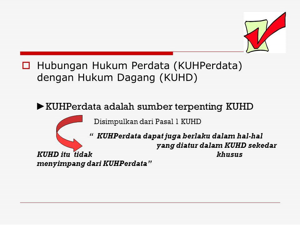  Hubungan Hukum Perdata (KUHPerdata) dengan Hukum Dagang (KUHD) ► KUHPerdata adalah sumber terpenting KUHD Disimpulkan dari Pasal 1 KUHD KUHPerdata dapat juga berlaku dalam hal-hal yang diatur dalam KUHD sekedar KUHD itu tidak khusus menyimpang dari KUHPerdata