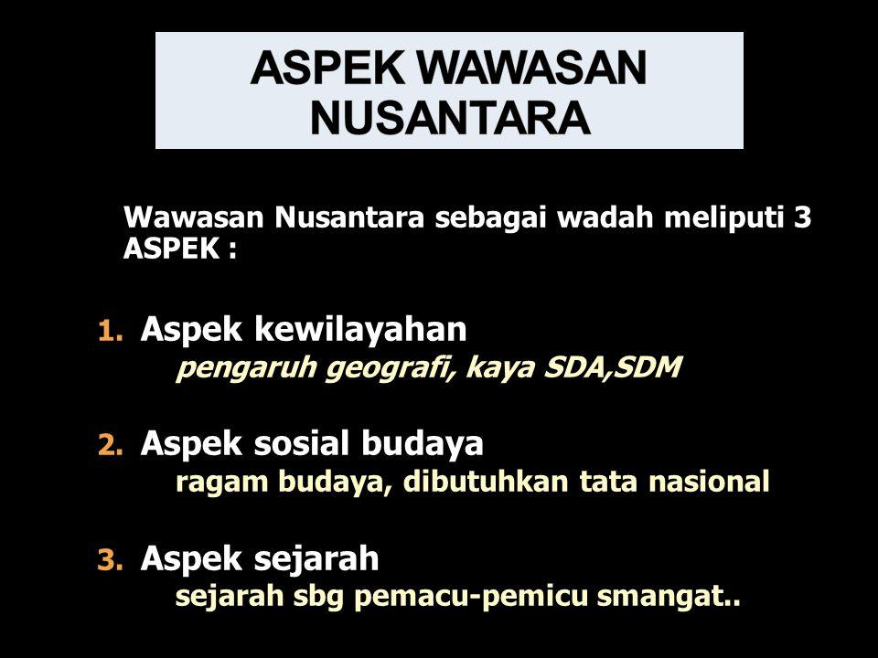 Wawasan Nusantara sebagai wadah meliputi 3 ASPEK : 1.