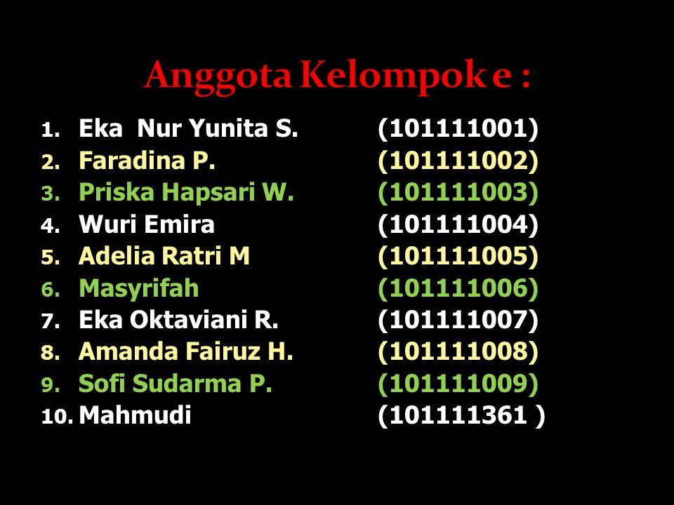1.Eka Nur Yunita S.(101111001) 2. Faradina P.(101111002) 3.