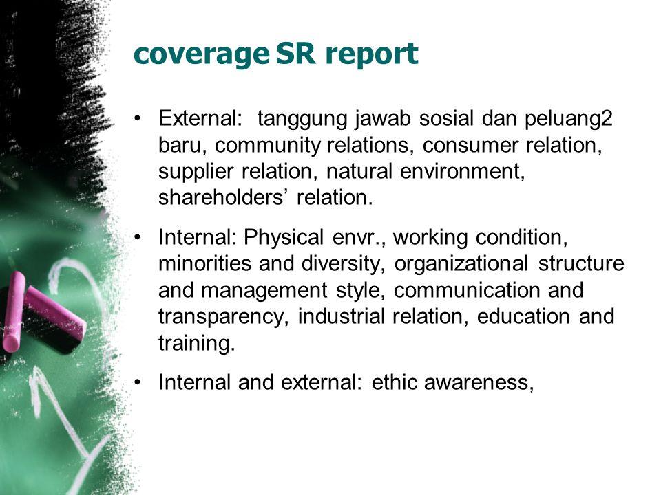coverage SR report External: tanggung jawab sosial dan peluang2 baru, community relations, consumer relation, supplier relation, natural environment,