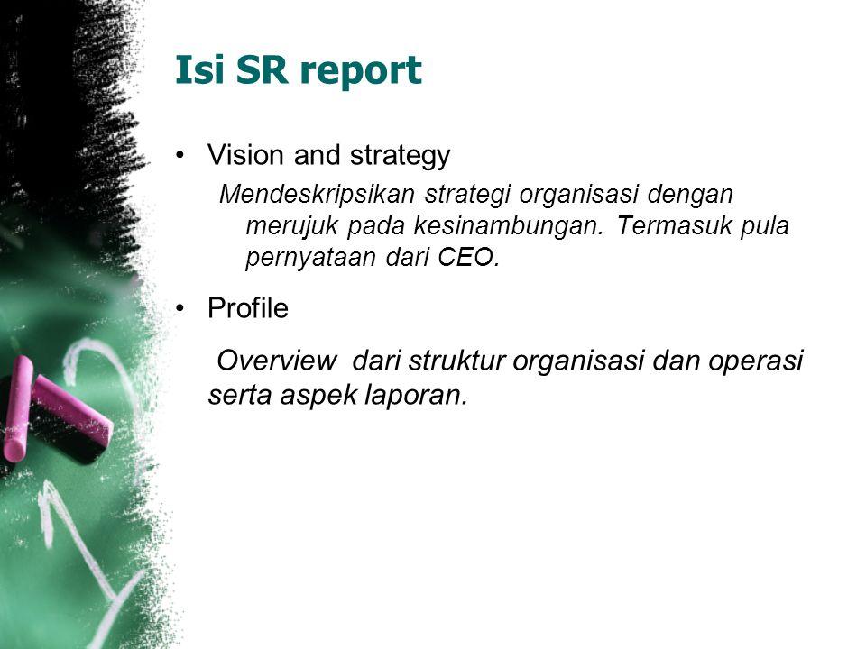 Isi SR report Vision and strategy Mendeskripsikan strategi organisasi dengan merujuk pada kesinambungan. Termasuk pula pernyataan dari CEO. Profile Ov