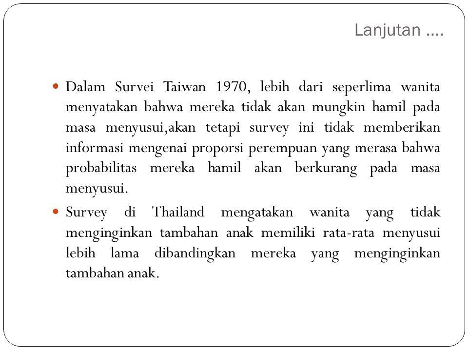 Lanjutan …. Dalam Survei Taiwan 1970, lebih dari seperlima wanita menyatakan bahwa mereka tidak akan mungkin hamil pada masa menyusui,akan tetapi surv