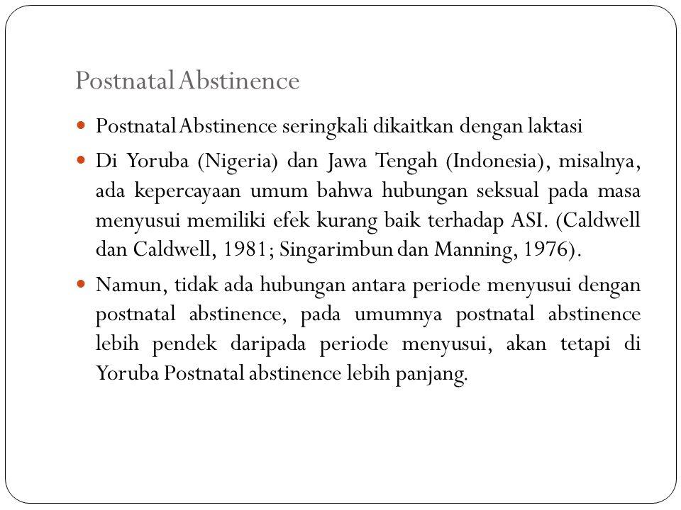Postnatal Abstinence Postnatal Abstinence seringkali dikaitkan dengan laktasi Di Yoruba (Nigeria) dan Jawa Tengah (Indonesia), misalnya, ada kepercayaan umum bahwa hubungan seksual pada masa menyusui memiliki efek kurang baik terhadap ASI.