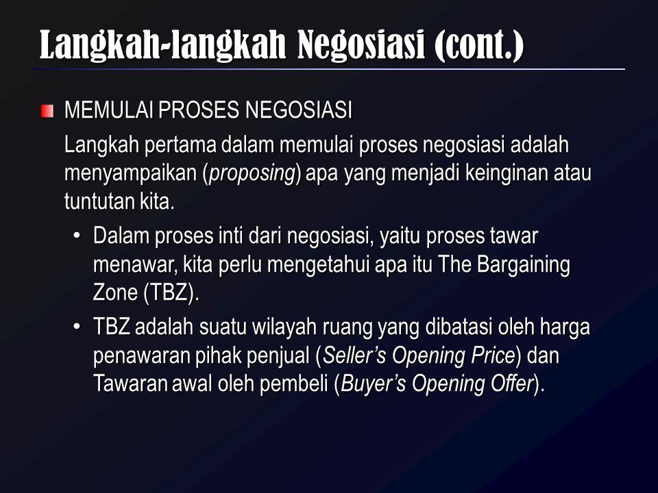 MEMULAI PROSES NEGOSIASI Langkah pertama dalam memulai proses negosiasi adalah menyampaikan ( proposing ) apa yang menjadi keinginan atau tuntutan kit