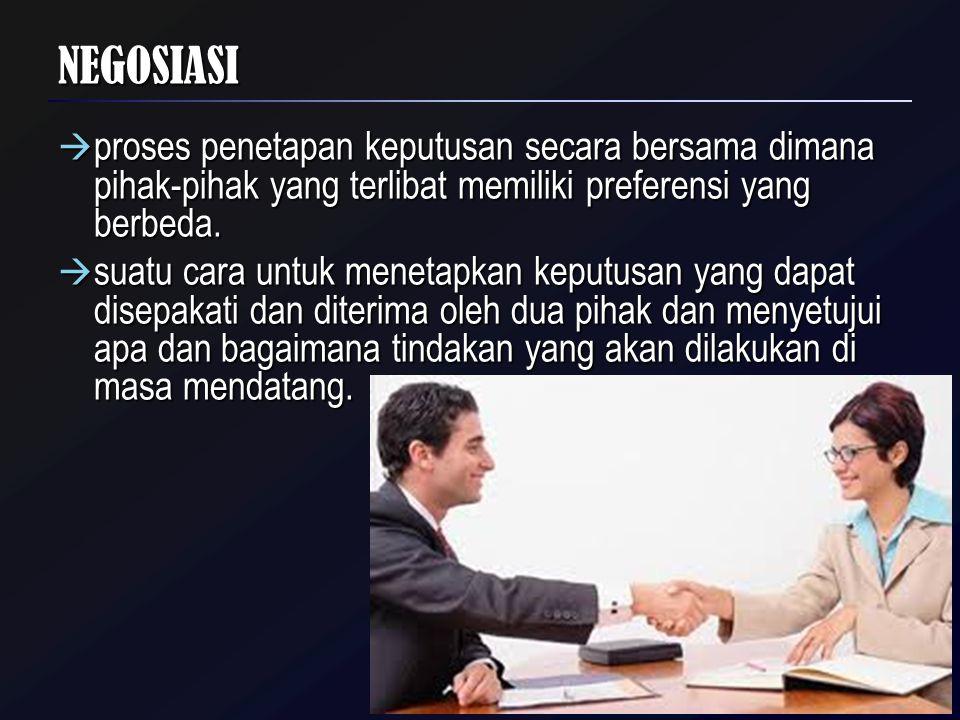 NEGOSIASI  proses penetapan keputusan secara bersama dimana pihak-pihak yang terlibat memiliki preferensi yang berbeda.  suatu cara untuk menetapkan
