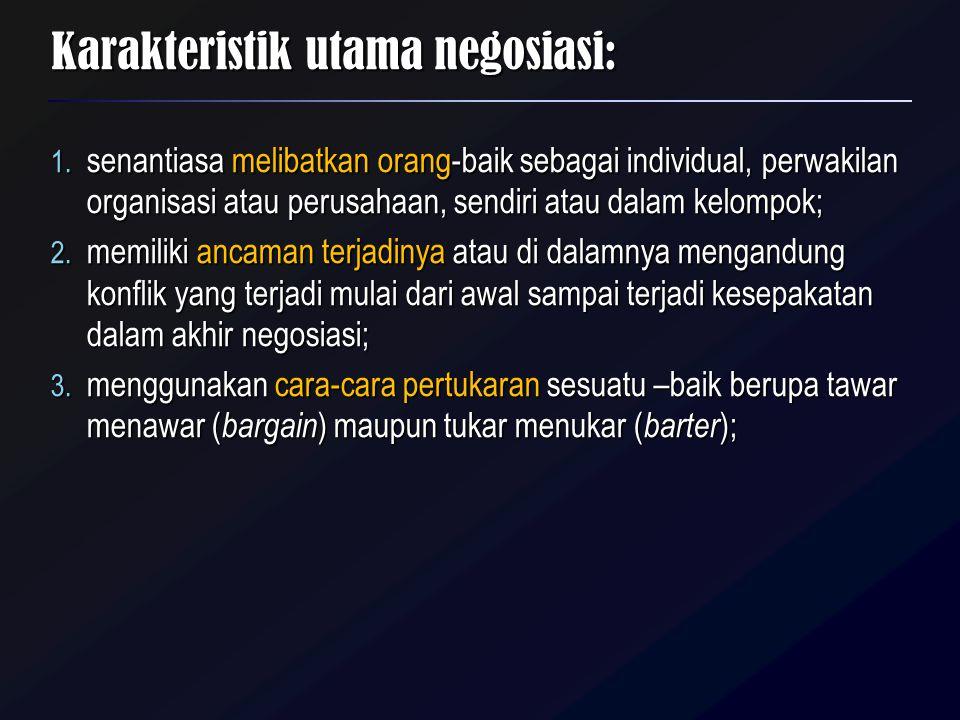 Karakteristik utama negosiasi: 4.