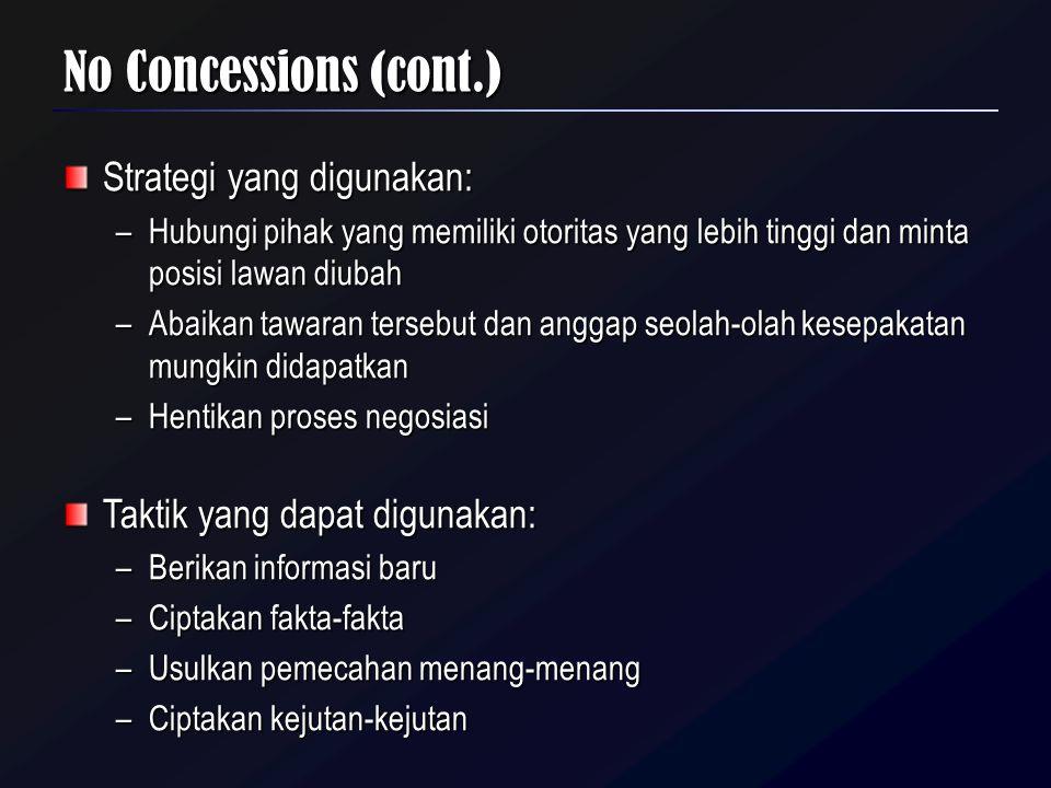 No Concessions (cont.) Strategi yang digunakan: –Hubungi pihak yang memiliki otoritas yang lebih tinggi dan minta posisi lawan diubah –Abaikan tawaran