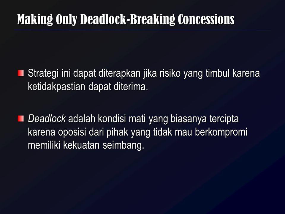 Making Only Deadlock-Breaking Concessions Strategi ini dapat diterapkan jika risiko yang timbul karena ketidakpastian dapat diterima. Deadlock adalah