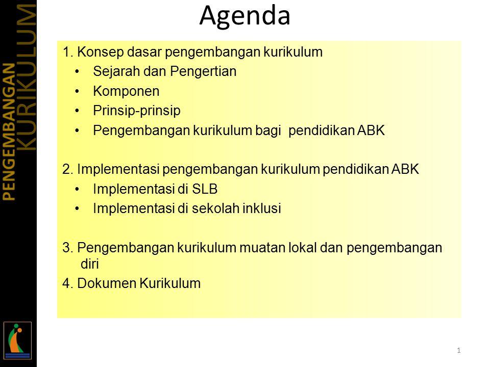 Agenda 1. Konsep dasar pengembangan kurikulum Sejarah dan Pengertian Komponen Prinsip-prinsip Pengembangan kurikulum bagi pendidikan ABK 2. Implementa