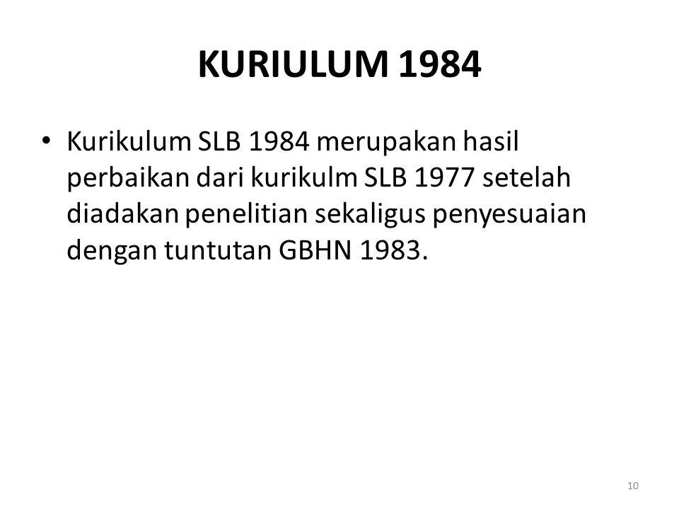 KURIULUM 1984 Kurikulum SLB 1984 merupakan hasil perbaikan dari kurikulm SLB 1977 setelah diadakan penelitian sekaligus penyesuaian dengan tuntutan GB
