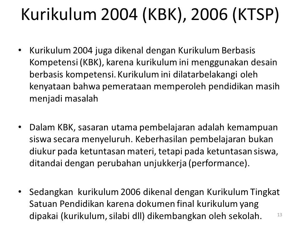 Kurikulum 2004 (KBK), 2006 (KTSP) Kurikulum 2004 juga dikenal dengan Kurikulum Berbasis Kompetensi (KBK), karena kurikulum ini menggunakan desain berb