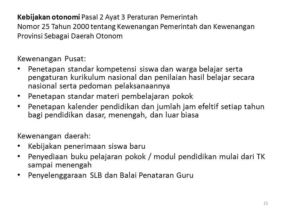 Kebijakan otonomi Pasal 2 Ayat 3 Peraturan Pemerintah Nomor 25 Tahun 2000 tentang Kewenangan Pemerintah dan Kewenangan Provinsi Sebagai Daerah Otonom