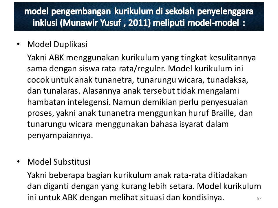 Model Duplikasi Yakni ABK menggunakan kurikulum yang tingkat kesulitannya sama dengan siswa rata-rata/reguler. Model kurikulum ini cocok untuk anak tu